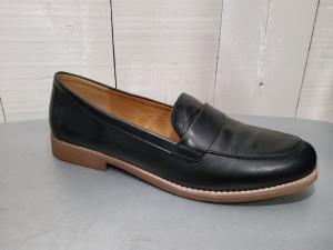 Mocassin noir cuir femme