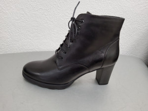 Bottines noires cuir à lacets femme