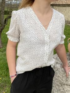 Chemise droite à pois femme