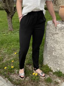 Pantalon droit noir fluide femme