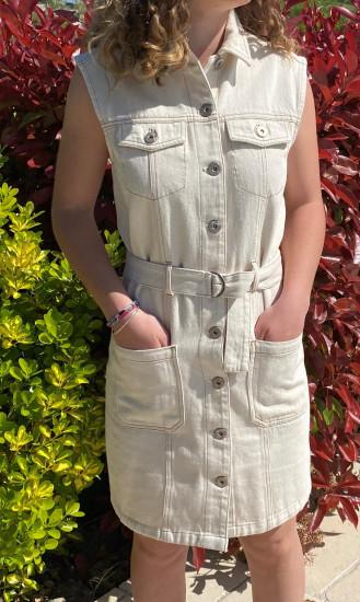 Robe jean écru femme