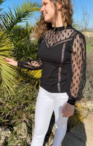 T.Shirt noir dentelle femme