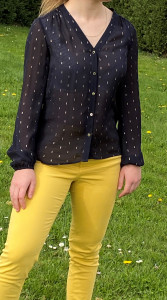Chemise marine motif doré femme
