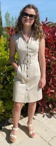 Robe boutonnée beige femme