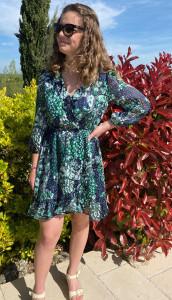 Robe courte vert/marine femme