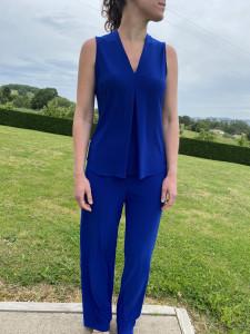 Pantalon fluide bleu indigo femme