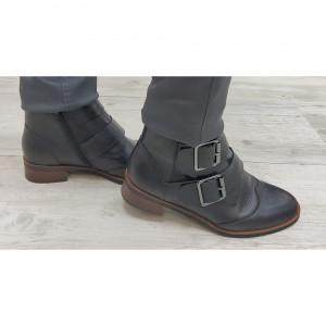 Boots noir 2 boucles métal femme