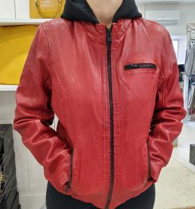 Blouson cuir rouge Karah