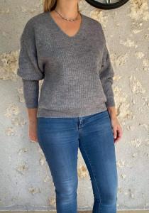 Pull court laine gris chiné femme
