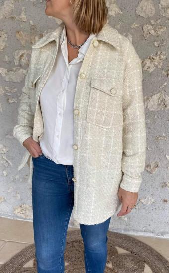 Surchemise veste crème  femme
