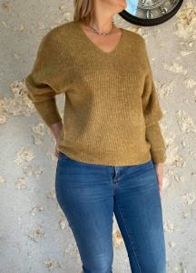 Pull court laine noisette femme