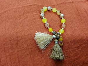 Bracelet élastiqué perles multicolores