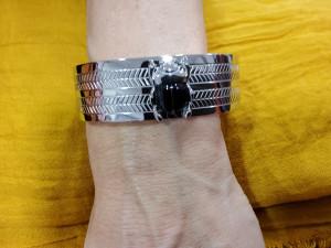 Bracelet jonc métal argenté femme