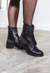 Bottines cuir noires croco femme