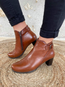 Bottines cuir lisse marron femme