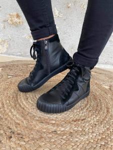 Basket montantes noires femme