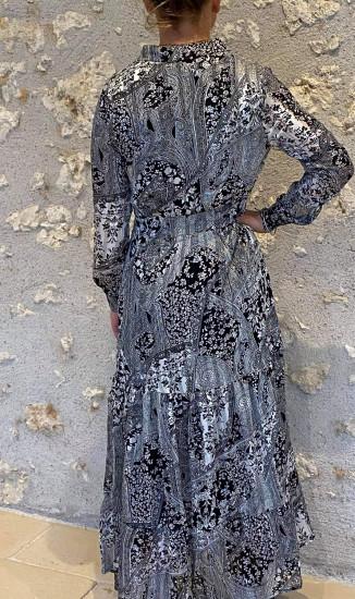 Robe longue noire et blanche femme
