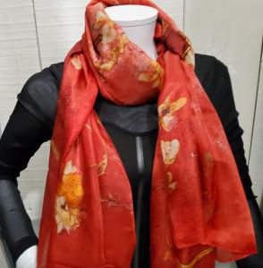 Foulard soie imprimé rouge et orange