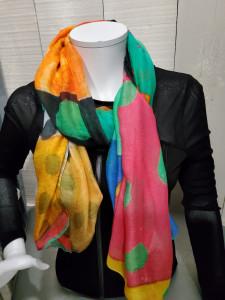 Foulard imprimé peinture multicolore