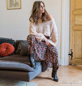 Pull laine rose poudré col V femme