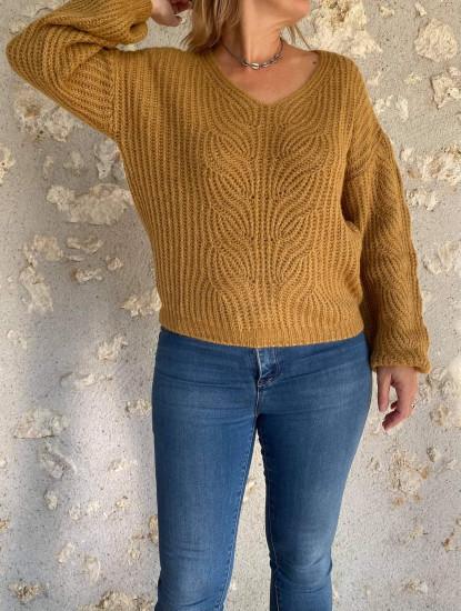 Pull laine noisette doré femme