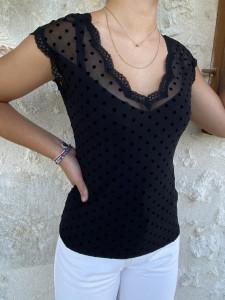 T-shirt noir MC à plumetis femme