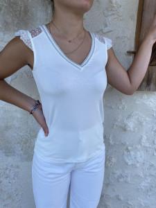 T-shirt blanc MC à plumetis femme