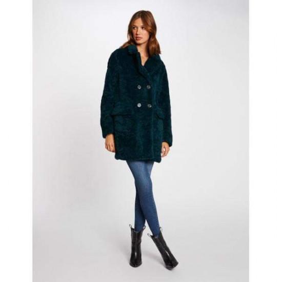 Manteau vert droit fourrure femme