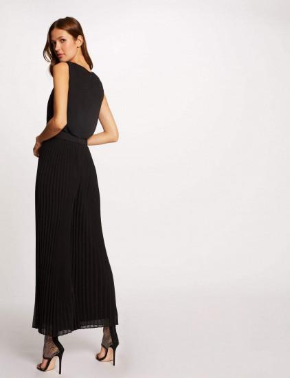 Combi noire large plissée femme