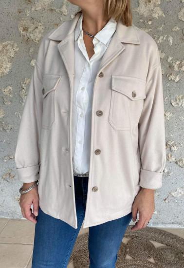 Surchemise veste beige femme