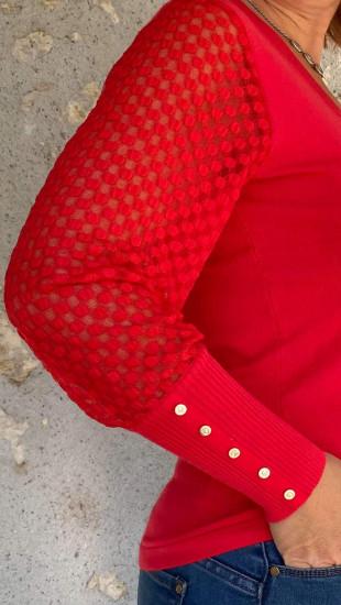 Pull rouge dentelle femme