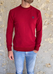 Pull maille rouge col rond homme