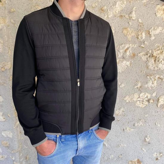 Veste doudoune zippée noire homme