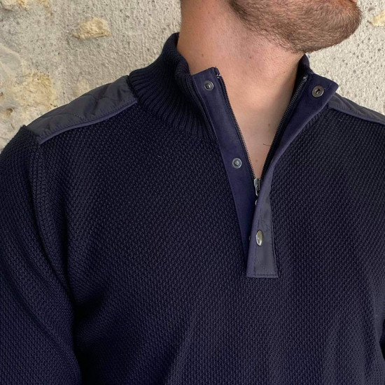 Pull marine col montant homme